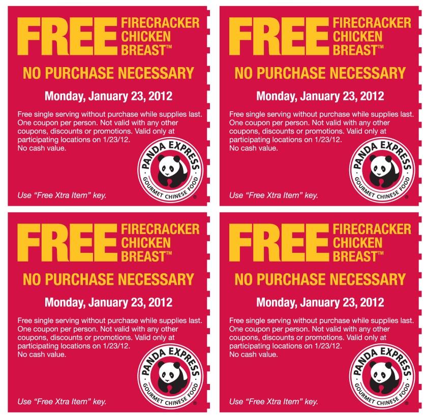 free coupons panda express